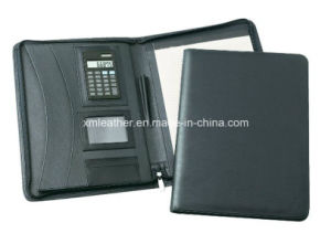 Black A4 Zip Executive Leather Portfolio with Logo Printed pictures & photos