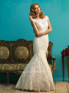 Elegant Cap Sleeve Mermaid Wedding Lace Bridal Dress pictures & photos