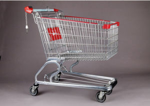 European Chassis Supermarket Wire Shopping Hand Cart Trolley