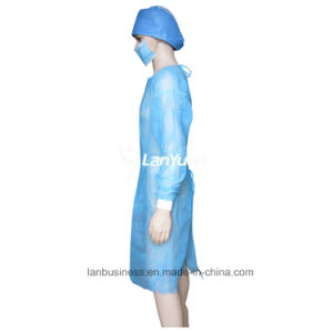 PP Blue Isolation Gown with Kintted Cuffs pictures & photos