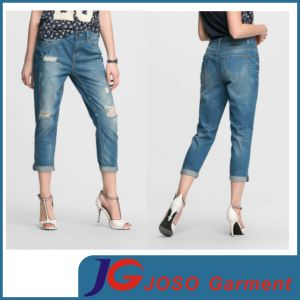 Women Jeans Trousers Lady Jeans Online Shop Cufled Jean (JC1361) pictures & photos