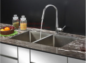 Stainless Steel Radius Under Mount Equal Double Bowl Handmade Kitchen Sink pictures & photos