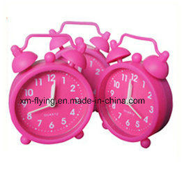 Promotional Multi-Color Lovely Round Twin Bell Silicone Mini Table Alarm Clocks for Travel pictures & photos