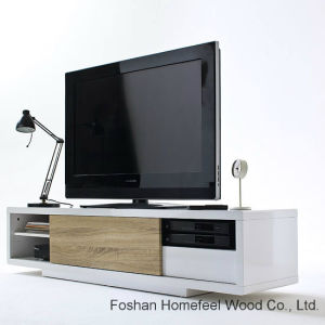 Fashion White Sliding Door LCD TV Stand (HF-EY08259) pictures & photos