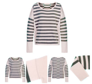 Colorful Stripes Women Knitted Cashmere Sweater pictures & photos