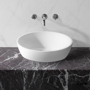 Kingkonree Above Countertop Sink Oval Solid Surface Stone Basin and Sink pictures & photos