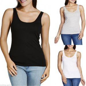 Women Basic Scoop Cotton Slim Fit Tank Top (A498)