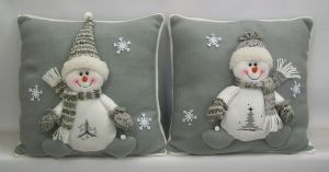Xmas Cushion Decoration Grey Color with Cute Snowman pictures & photos