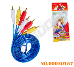 Suoer 1.8m AV Cable Male to Male 3RCA to 3RCA Connector AV Cable with Golden Connetor (AV-306G-1.8m-gold-blue-red Packing) pictures & photos
