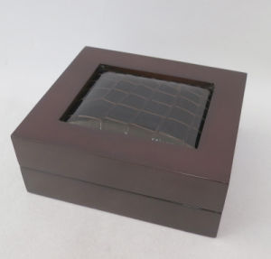 Wood Jewelry Box with Croco Leather on Top pictures & photos