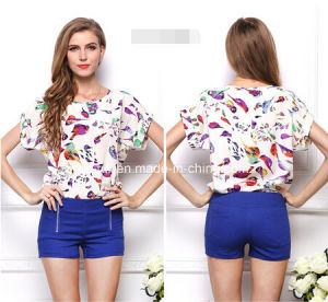 Manufacture Women Tops Chiffon Casual Tee Shirt pictures & photos