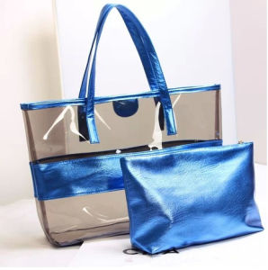 Ladies PVC Handbag Shoulder Beach Bag with Matching Pouch pictures & photos