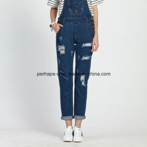 High Quality Classic Denim Ladies Jeans Overall Ripped Women Pants pictures & photos