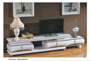 Modern Design White TV Stand Furniture with Glass Cover (2600) pictures & photos