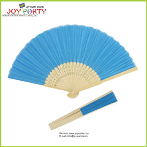 Sky Blue Cloth Hand Held Fan pictures & photos