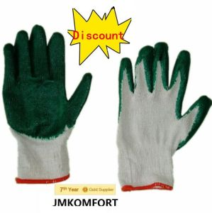 Cheap T/C Work Glove Coated Green Latex (JMC-383B) pictures & photos