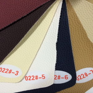 Designed PU Flocking Leather for Upholstery (HS022#) pictures & photos