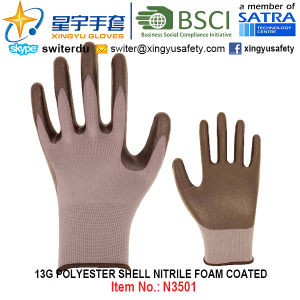 13G Polyester Shell Nitrile Foam Coated Gloves (N3501) with CE, En388, En420, Work Gloves pictures & photos