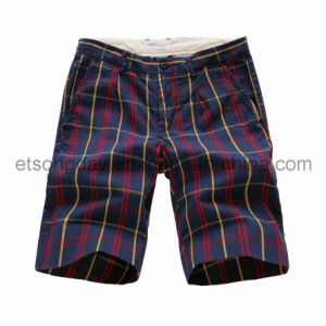 100% Cotton Men′s Navy Plaid Shorts (GT121361) pictures & photos