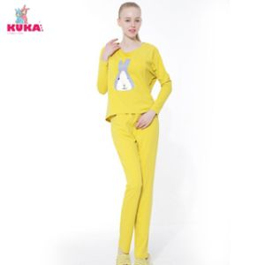 Kuka Lady Cartoon Bunny Long Suit Pajama Home Yoga Wear