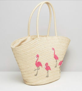 Embroidery Pattern Decoration Beach Straw Tote Bag (LD-17002) pictures & photos