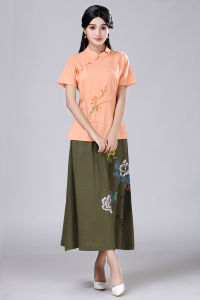 Hand Painted Linen Pleated Long Skirt for Japanese Clothing pictures & photos