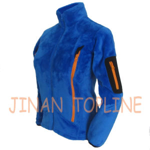 Women Dyed Cationic Flannel Favbric Jacket with Sleeve Pocket pictures & photos