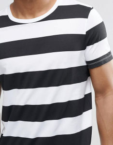 Custom Men Black and White Stripe Tee Shirt pictures & photos