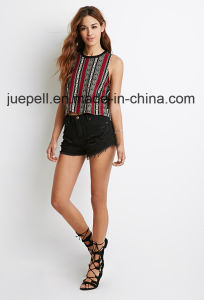 Knit Contrast Crew Neckline Striped Tribal Print Muscle Tee Shirt pictures & photos