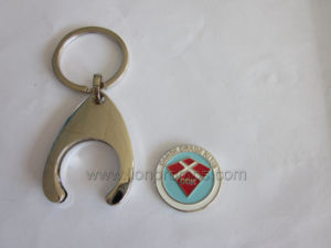 Metal Keychain with Supermarket Shopping Cart Token pictures & photos