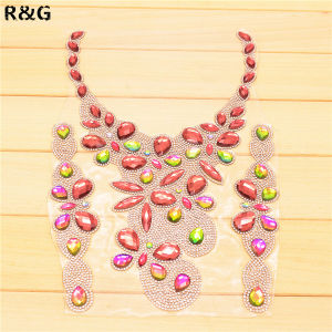 Rhinestone Trim Neckline Neck Line Iron on Transfer Rhine-Studs Collar pictures & photos