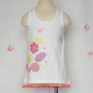 100% Cotton Fashion Water Print Sleeveless T-Shirt for Girls