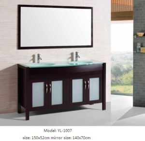 Kitchen Furniture with Glass Basin Wooden Vanity