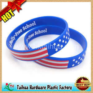 Promotion Gift 1 Inch Silicone Wristband with Color Filled (TH-6860) pictures & photos