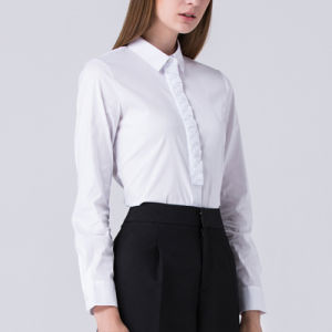 Women Wear Short-Sleeved Shirt Slim White Chiffon Flounced White Shirt pictures & photos