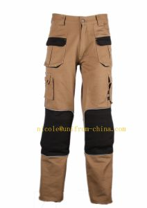 Khaki Canvas Fabiric Mens 6 Pockets Cargo Work Pants with Knee Pad pictures & photos