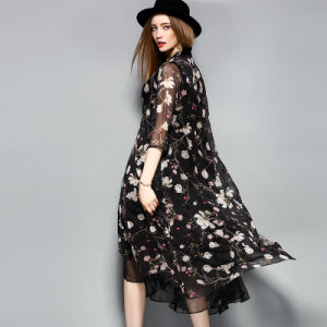 Black Knee Length Floal Printed Lace-up Women Dress pictures & photos