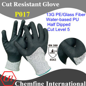 13G PE/Glass Fiber Knitted Glove with Water-Based PU Coated Palm/ En388: 4543 pictures & photos