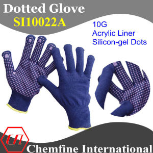 10g Blue Acrylic Fiber Knitted Glove with Pink Silicon-Gel Dots pictures & photos
