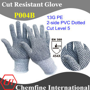 13G PE Knitted Glove with 2-Side PVC Dotted/ En388: 454X pictures & photos