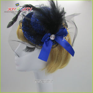 Blue Hair Accessories Lady Billycock with Feather