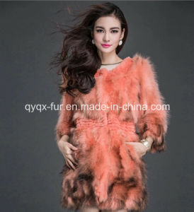 Women′s Winter Warm Nine Points Sleeve Rabbit Fur and Raccoon Fur Patchwork Coat pictures & photos