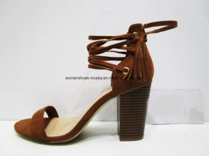 New Design Women Fashion High Heel Block Sandal with Peep Toe pictures & photos