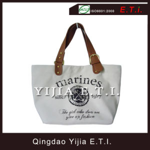 High Quality Canvas Tote with Leather Handles pictures & photos