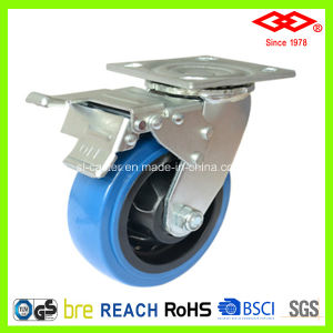 100mm Dark Blue PU Wheel Heavy Duty Caster (P701-36FA100X50S) pictures & photos