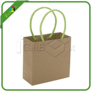Custom Printed Kraft Paper Bag with Rigid Handle pictures & photos