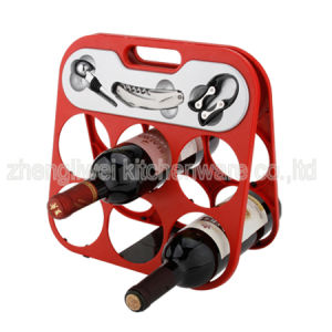 Six Bottle Wine Rack with Wine Gadgets in Red Color (608355-A) pictures & photos