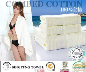 2016 Hot Sales 100% Organic Cotton Jacquard Bath Towel with Satin Border Df-S283 pictures & photos