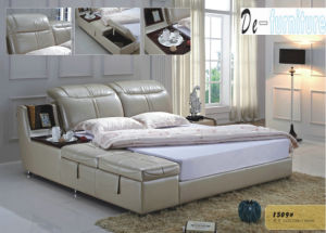 European Style Modern Leather Bed in Bedroom Furniture (1509) pictures & photos