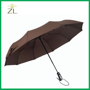 10 Ribs Pongee Auto Open and Close Automatic 3 Folding Umbrella pictures & photos